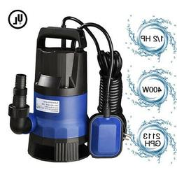 1/2 HP 2112GPH 400W Swimming Pool Flooding Pond Submersible