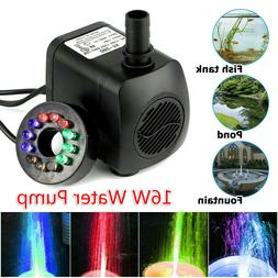 16W Submersible Water Pump with 12 LED Lights for Fountain P