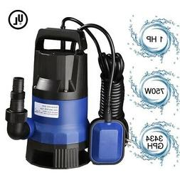 1 HP 3432GPH 750W Swimming Pool Flooding Pond Submersible Di