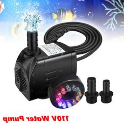 220 GPH 110V Submersible Water Pump with 12 LED Lights for F