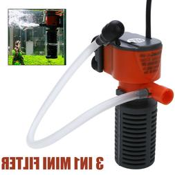 3 in1 Mini Aquarium Internal Filter Oxygen Submersible Water