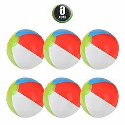 6 Pack Inflatable Beach Balls - 12 Inch, Rainbow Colored - f
