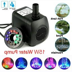 800L/H Submersible Water Pump with 12 LED Lights for Fountai