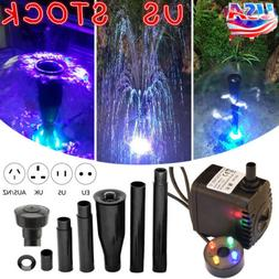 Electric Fountain Water Pump With LED Light Pond Garden Pool