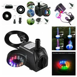 Electric Water Pump Fountain 12 Led Outdoor Fish Pond Garden