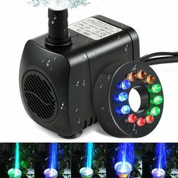 Fountain Water Pump With 12 LED Light Pond Garden Pool Elect