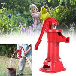 Hand Pump w/Stand Cast Iron Well Water Pitcher Press Suction