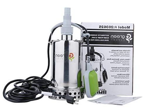 Green Expert 2/3HP Submersible Pump Top Discharge 2906GPH for Flood Pond Water Automatic
