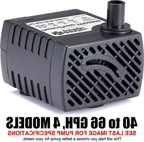 PonicsPump PP06605: 66 GPH Submersible Pump with 5 Cord - 3W