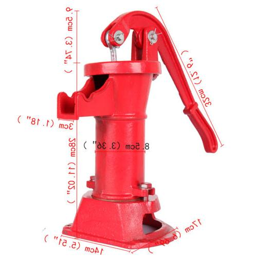 Heavy Duty Iron Well Water Hand Pump Max Lift Shallow