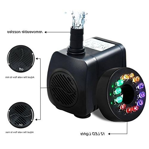 INTSUN GPH Water Pump Tank, Small Silent 12 LED Colorful Lights 2 Nozzle, 6 Feet Power Cord
