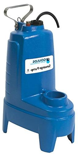 Goulds PS51P1F Submersible Sewage Pump, 1/2 HP, 115 V, 13 Am