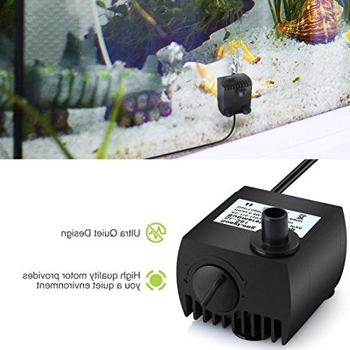 Homasy 80 Submersible Water Pump, Ultra Quiet For Pond, Aquarium, Tank Powerful Pump Cord