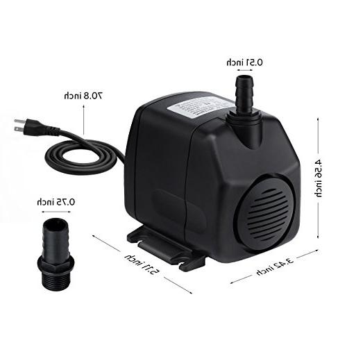 Homasy Pump with Power Cord, 9.8ft High Quiet for Aquarium, Tank, Statuary, Pond, Hydroponics