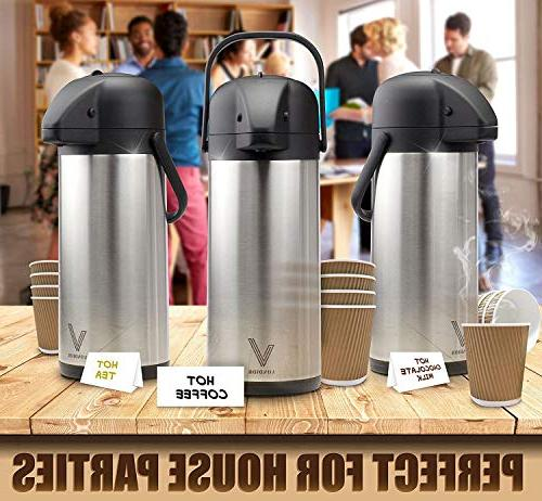 Thermal Coffee Beverage - Stainless For Or, Pump Carafe, Brush