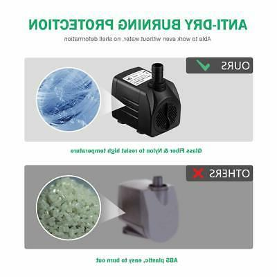 Homasy Upgraded 400GPH Water Pump with Hours Burning