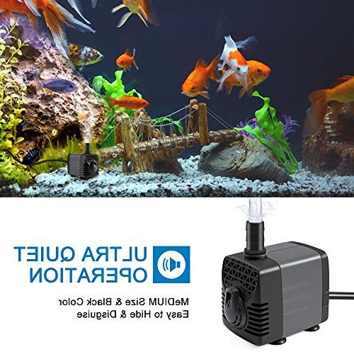 Ankway 210GPH Submersible Water Pump Humanized Switch with for Fish Tank Fountain Water Hydroponics, Cord