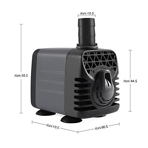Ankway Water Pump Humanized Rotation Switch with 2 Nozzles for Fish Tank Hydroponics, Cord