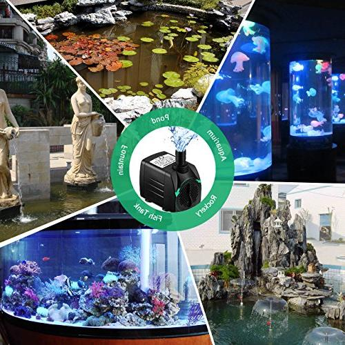 Water with 48 Hours Fountain Water Pump Aquarium, Pond, Fish Water Pump Hydroponics