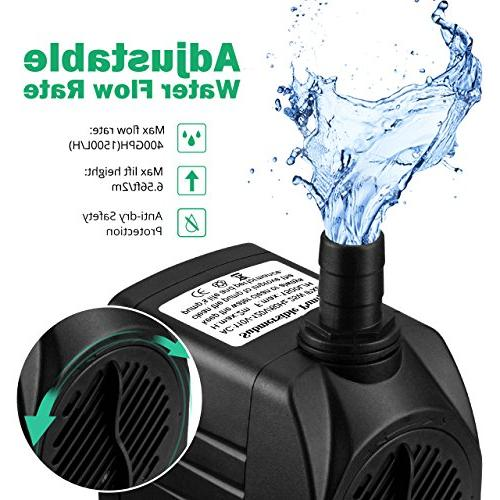 Homasy Hours Dry Burning, Fountain Water 5.9ft Power Cord Aquarium, Tank, Water Hydroponics