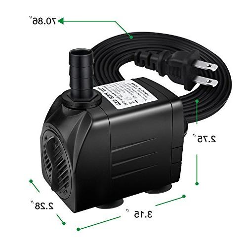Winkeyes 400GPH Pump with 48 Hours Dry Burning, 25W Fountain Fish with Nozzles