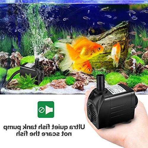 Winkeyes 400GPH with 48 Dry Burning, 25W Submersible Fish Pond Hydroponic with 5.9ft Cord, 2 Nozzles