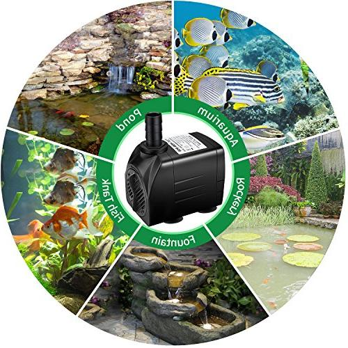 Winkeyes with Dry Burning, Ultra Quiet 25W Submersible Fish Pond Pump with 6.9ft 5.9ft Nozzles