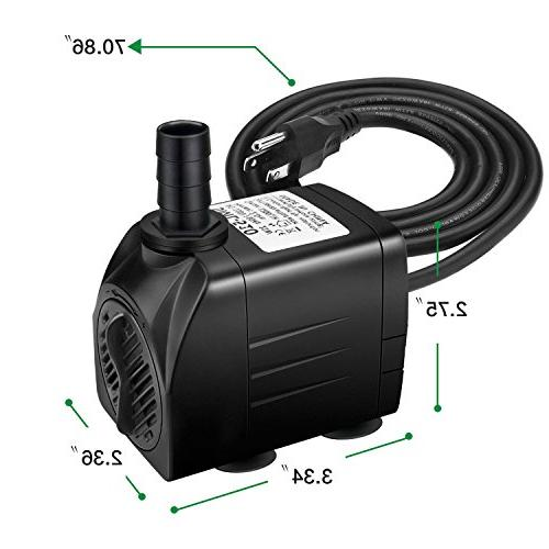 Jhua Water Pump Submersible Water Pump, Ultra Quiet Fountain with 5.9ft 3 Fish Hydroponics