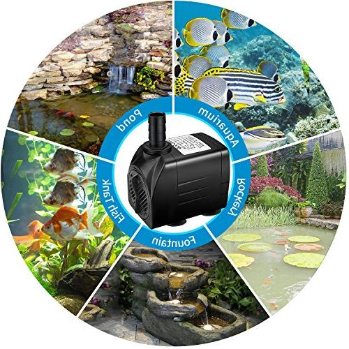 Jhua Water Submersible Pump, Ultra Quiet Fountain with Power 3 Nozzles for Fish Hydroponics