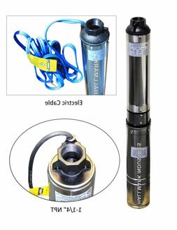 "Submersible Pump, 4"" Deep Well, 1 HP, 220V, 33 GPM, 207 ft M"