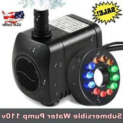 Submersible Water Pump 800L/H with 12 LED Lights for Fountai