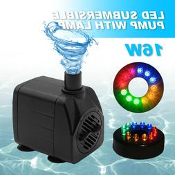 Submersible Water Pump With 12 LED Light For Fountain Pool G
