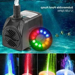 Submersible Water Pump with 12 LED Lights for Fountain Pool