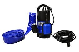 Hot Tub and Pool Submersible Drain Pump and 25' Water Hose